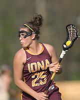 Amber Zimmerlink (I 25) on offense. Boston College defeated Iona College, 19-5.