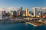 Aerial View of Downtown Miami Skyline in early morning showing, Miami Airlines Arena,  Bayside and Bayfront Park and the downtown business district.