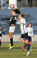 20170129 - LILLE , FRANCE : LOSC's Maud Coutereels (R) and Juvisy's Clara Mateo (L)pictured during women soccer game between the women teams of Lille OSC and FFC Juvisy Essonne  during the 1/16 final for the 2017 French Cup at stade Lille Metropole , Sunday 29th of January ,  PHOTO Dirk Vuylsteke | Sportpix.Be