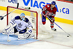 10 April 2010: Montreal Canadiens' left wing forward Mike Cammalleri in action during the last game of the regular season against the Toronto Maple Leafs at the Bell Centre in Montreal, Quebec, Canada. The Leafs defeated the Habs 4-3 in sudden death overtime as the Canadiens advance to the Stanley Cup Playoffs with the single point. Mandatory Credit: Ed Wolfstein Photo