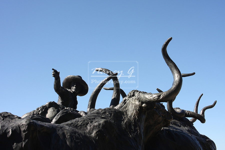 Bronze statue of Texas Longhorn Cattle being herded by a cowboy on horseback located near the Forth Worth Stockyards National Historic District Texas
