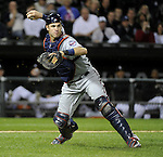 CHICAGO - SEPTEMBER 14:  Joe Mauer #7 of the Minnesota Twins throws out Gordon Beckham #15 of the Chicago White Sox who was trying to bunt for a hit on September 14, 2010 at U.S. Cellular Field in Chicago, Illinois.  The Twins defeated the White Sox 9-3.  (Photo by Ron Vesely)
