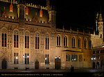 Town Hall Stadhuis at Night, Burg Square, Bruges, Brugge, Belgium