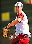 29 June 2012: Lowell Spinners' pitcher Justin Haley warms up in the bullpen prior to a game against the Vermont Lake Monsters at Centennial Field in Burlington, Vermont. Mandatory Credit: Ed Wolfstein Photo