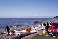 Kayaks on Beach at Semiahoo Bay / Pacific Ocean, White Rock, BC, British Columbia, Canada