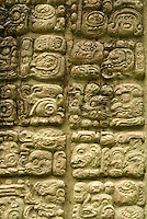 Maya glyphs on a stela at the Mayan ruins of Copan, Honduras. Copan is a UNESCO World Heritage Site.