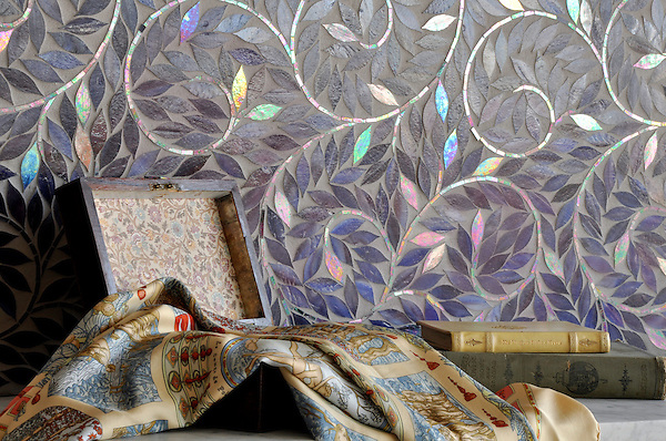 Jacqueline Vine, a handmade mosaic shown in Amethyst jewel glass, is part of the Silk Road Collection by Sara Baldwin for New Ravenna.<br /> <br /> For pricing samples and design help, click here: http://www.newravenna.com/showrooms/