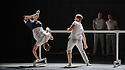 """London, UK. 20.04.2016. Balletboyz present the world premiere of their new production, """"Life"""", at Sadler's Wells before embarking on a UK tour. The production features two new commissions by Javier de Frutos (""""Fiction"""") and Pontus Lidberg (""""Rabbit""""). The dancers are: Andreu Carruciu, Bradley Waller, Edward Pearce, Flavien Esmieu, Harry Price, Jordan Robson, Matthew Rees, Matthew Sandiford, Simone Donati, Marc Galves. The piece shown is: Fiction, by Javier de Frutos. Photograph © Jane Hobson."""