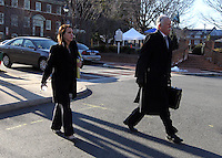 CHARLOTTESVILLE, VA - FEBRUARY 13: Defense attorneys Rhonda Quagliana, left, and Francis McQ. Lawrence, right, walk to the Charlottesville Circuit courthouse for the George Huguely trial. Huguely was charged in the May 2010 death of his girlfriend Yeardley Love. She was a member of the Virginia women's lacrosse team. Huguely pleaded not guilty to first-degree murder. (Credit Image: © Andrew Shurtleff/