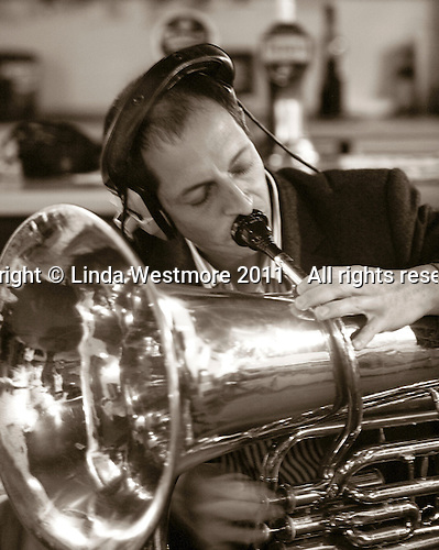 "Gary Holder, musician with the ""Edge of Chaos Orchestra"" recording at the Blue Coconut Club, Pulborough, West Sussex."