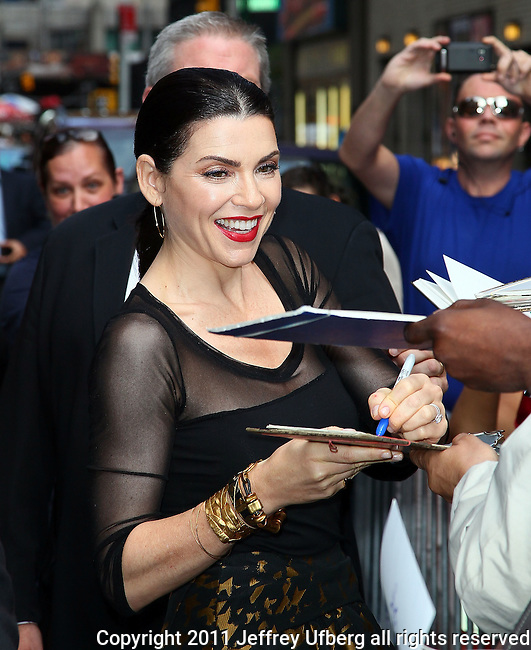 """Aug. 29, 2011 New York: Actress Julianna Margulies visits """"Late Show with David Letterman"""" at the Ed Sullivan Theatre on August 29, 2011 in New York."""