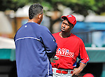9 March 2012: Philadelphia Phillies outfielder Juan Pierre chats with a former Marlins teammate Miguel Cabrera prior to a Spring Training game against the Detroit Tigers at Joker Marchant Stadium in Lakeland, Florida. The Phillies defeated the Tigers 7-5 in Grapefruit League action. Mandatory Credit: Ed Wolfstein Photo