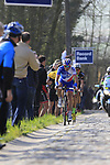 Mickael Delage (FRA) FDJ and Tom Van Asbroeck (BEL) Cannondale-Drapac summit the Taaienberg 18% cobbled climb during the 60th edition of the Record Bank E3 Harelbeke 2017, Flanders, Belgium. 24th March 2017.<br /> Picture: Eoin Clarke | Cyclefile<br /> <br /> <br /> All photos usage must carry mandatory copyright credit (&copy; Cyclefile | Eoin Clarke)