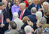 Donald J. Trump arrives to be sworn-in as the 45th President of the United States on the West Front of the US Capitol on Friday, January 20, 2017.  Hillary Clinton is seen at the right of the image.<br /> Credit: Ron Sachs / CNP<br /> (RESTRICTION: NO New York or New Jersey Newspapers or newspapers within a 75 mile radius of New York City)