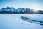 Idaho, Central, Stanley. The Sawtooth Mountains under a winter sunset.