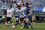 05 September 2015: Iona's Marcos Nunez (ESP)(7) and Duke's Markus Fjortoft (NOR) (right). The Duke University Blue Devils hosted the Iona University Gaels at Koskinen Stadium in Durham, NC in a 2015 NCAA Division I Men's Soccer match. Duke won the game 2-1.