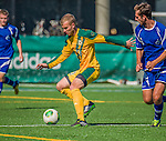 28 September 2013: University of Vermont Catamount Midfielder Rijad Mezetovic, a Freshman from Essex Junction, VT, in action against the Hartwick College Hawks at Virtue Field in Burlington, Vermont. The Catamounts shut out the visiting Hawks 1-0. Mandatory Credit: Ed Wolfstein Photo *** RAW (NEF) Image File Available ***