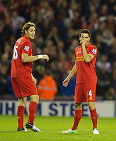 WEST BROMWICH, ENGLAND - Wednesday, September 26, 2012: Liverpool's Nuri Sahin celebrates scoring the first goal against West Bromwich Albion with team-mate Sebastian Coates during the Football League Cup 3rd Round match at the Hawthorns. (Pic by David Rawcliffe/Propaganda)