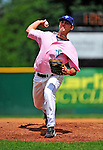 "18 July 2010: Vermont Lake Monsters pitcher Matt Swynenberg on the mound against the Staten Island Yankees at Centennial Field in Burlington, Vermont. The Lake Monsters, dressed in their Breast Cancer Awareness ""Pinks"", fell to the Yankees 9-5 in NY Penn League action. Mandatory Credit: Ed Wolfstein Photo"