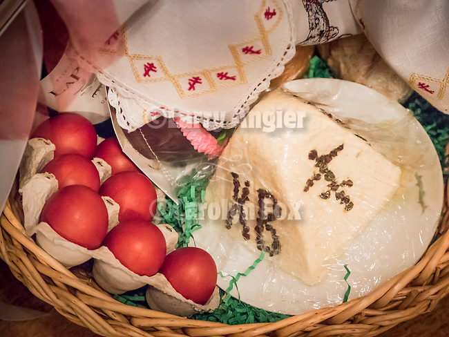 Resurrection Matins, evening before Easter Sunday, the blessing of the baskets, St. Sava Serbian Orthodox Church, midnight in Jackson, Calif.<br /> <br /> Blessing of the baskets of eggs.