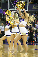 February 12, 2014:   Washington cheer member Jordan French entertained fans during a timeout against Stanford.  Washington defeated Stanford 64-60 at Alaska Airlines Arena in Seattle, Washington.