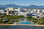 Aerial view of Esplanade lagoon and city skyline.  Cairns, Queensland, Australia.