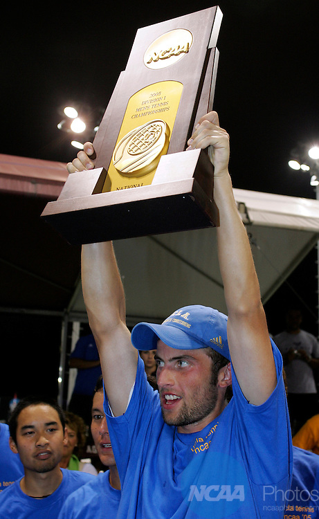 24 MAY 2005:  Kris Kwinta of UCLA celebrates the Bruins win over Baylor during the Division I Men's Team Tennis Championship.  Kwinta defeated Lars Poerschke 4-6, 6-4,    6-4 to bring home the national title for UCLA.  Jamie Schwaberow/NCAA Photos