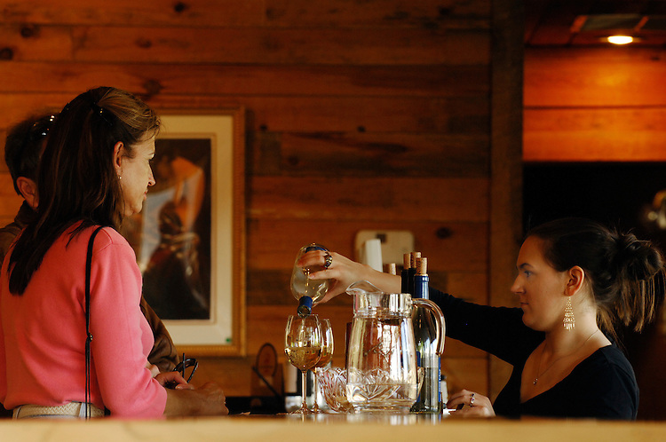 Lucy Fogle  pours a glass of wine during a tasting at Naked Mountain Vineyard and Winery in Markham Virginia. The vineyard is known well locally for its wonderful selection of chardonnays.