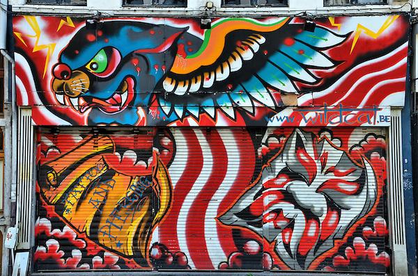 Wildcat tattoo parlor mural in antwerp belgium encircle for Mural tattoo