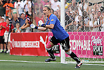 27 August 2011: Western New York's Ashlyn Harris celebrates after making the penalty kick save to win the title. Western New York Flash defeated the Philadelphia Independence 5-4 on penalty kicks to win the final after the game ended in a 1-1 tie after overtime at Sahlen's Stadium in Rochester, New York in the Women's Professional Soccer championship game.