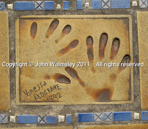 Hand print of the film star, Vanessa Redgrave, outside the Palais des Festivals et des Congres, Cannes, France.