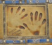 Hand print of the film star, Vanessa Redgrave, outside the Palais des Festivals et des Congres, Cannes, France.