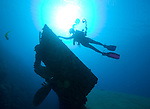 Diver over the Propellor and Rudder of the Hilma Hooker shipwreck
