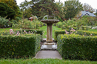 Bird bath in formal garden in Ottawa's Experimental Farm