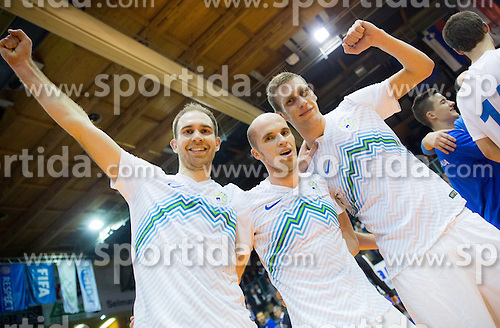 Kristjan Cujec, Igor Osredkar and Alen Fetic of Slovenia celebrate after winning during futsal match between National teams of Slovenia and Spain in Play off of FIFA Futsal World Cup Colombia 2016 Qualifications, on March 22, 2016 in Arena Tabor, Maribor, Slovenia. Photo by Vid Ponikvar / Sportida