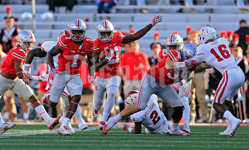 Ohio State Buckeyes wide receiver Parris Campbell (21) returns a kickoff up field against Indiana Hoosiers during the 1st half of their game in Ohio Stadium in Columbus, Ohio on October 8, 2016.  (Kyle Robertson/ The Columbus Dispatch)