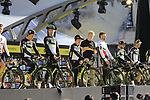 Team Dimension Data on stage at sign on before the 101st edition of the Tour of Flanders 2017 running 261km from Antwerp to Oudenaarde, Flanders, Belgium. 26th March 2017.<br /> Picture: Eoin Clarke | Cyclefile<br /> <br /> <br /> All photos usage must carry mandatory copyright credit (&copy; Cyclefile | Eoin Clarke)