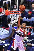 Wizards' Ramon Session gets an easy bucket. New York defeated Washington 115-104 during a NBA preseason game at the Verizon Center in Washington, D.C. on Friday, October 9, 2015.  Alan P. Santos/DC Sports Box