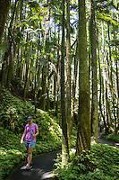 A woman peacefully walks through tall tropical palm trees and ferns at the Hawai'i Tropical Botanical Garden, Onomea, Big Island of Hawai'i.