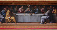 Painting of the Last Supper, 1615, by Philippe Hodart, in the Sao Miguel Chapel, or St Michael's Chapel, designed in Manueline style 1517-22 by Marco Pires and completed by Diogo de Castilho, on the site of a 12th century chapel in the University of Coimbra, Coimbra, Portugal. The chapel was renovated in the 17th and 18th centuries, with pulpit built by Manuel Ramos in 1684, ceiling painted by Francisco F de Araujo, tiled floor added 1613, Baroque organ with 2,000 pipes built 1733 by Fray Manuel de Sao Bento, chinoiserie painting by Gabriel Ferreira da Cunha in 1737, and Mannerist altarpiece designed by Bernardo Coelho in 1605 and made by sculptor Simon Mota, with paintings by Simon Rodrigues and Domingos Vieira Serrao. The University of Coimbra was first founded in 1290 and moved to Coimbra in 1308 and to the royal palace in 1537. The building is listed as a historic monument and a UNESCO World Heritage Site. Picture by Manuel Cohen