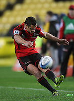 Dan Carter takes a penalty attempt from the sideline. Super 15 rugby match - Crusaders v Hurricanes at Westpac Stadium, Wellington, New Zealand on Saturday, 18 June 2011. Photo: Dave Lintott / lintottphoto.co.nz