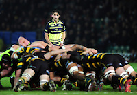 Joey Carbery of Leinster Rugby watches a scrum. European Rugby Champions Cup match, between Northampton Saints and Leinster Rugby on December 9, 2016 at Franklin's Gardens in Northampton, England. Photo by: Patrick Khachfe / JMP