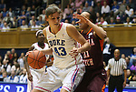 15 February 2012: Duke's Allison Vernerey (FRA) (43) is defended by Virginia Tech's Brittni Montgomery (21). The Duke University Blue Devils defeated the Virginia Tech Hokies 67-45 at Cameron Indoor Stadium in Durham, North Carolina in an NCAA Division I Women's basketball game.