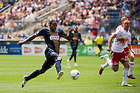 Lionard Pajoy (23) of the Philadelphia Union. The New York Red Bulls defeated the Philadelphia Union  3-2 during a Major League Soccer (MLS) match at PPL Park in Chester, PA, on May 13, 2012.
