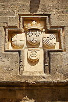 Medieval Heralic seal of the Knights on a lodge in the Avenue of the Knights. Rhodes, Greece, UNESCO World Heritage Site