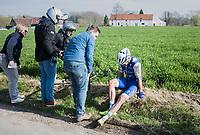Jack Bauer (NZL/QuickStep Floors) crashed out<br /> <br /> 60th E3 Harelbeke (1.UWT)<br /> 1day race: Harelbeke &rsaquo; Harelbeke - BEL (206km)