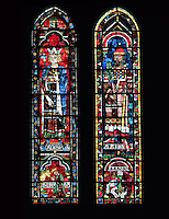 Salomon and Jeroboam, king and high priest of the Old Testament, Aaron and his persecutor the Pharaoh, falling into the Red Sea, lancet window, North Rose window, circa 1230, Chartres Cathedral, Eure et Loir, France. Picture by Manuel Cohen