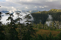 Fog lifts over islands and water soaked muskeg terrain above Sitka Sound from Harbor View Mountain Road.