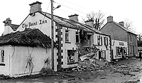 Scene of explosion, Point Inn, Quigley&rsquo;s Point, Co Donegal, Rep  of Ireland, 17th December 1973. It is thought that the loyalist bombers crossed Lough Foyle in a boat to carry out the attack. 197312170768<br />
