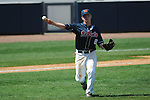 Ole Miss' Austin Anderson (8) throws to first at Oxford-University Stadium in Oxford, Miss. on Sunday, March 20, 2011. Alabama won 6-4.
